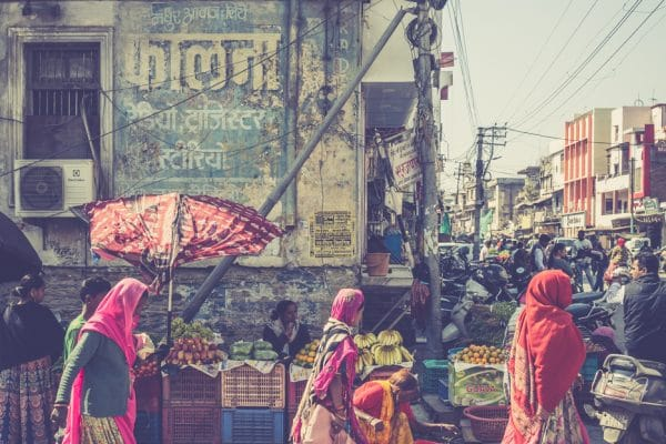 Three women at the market
